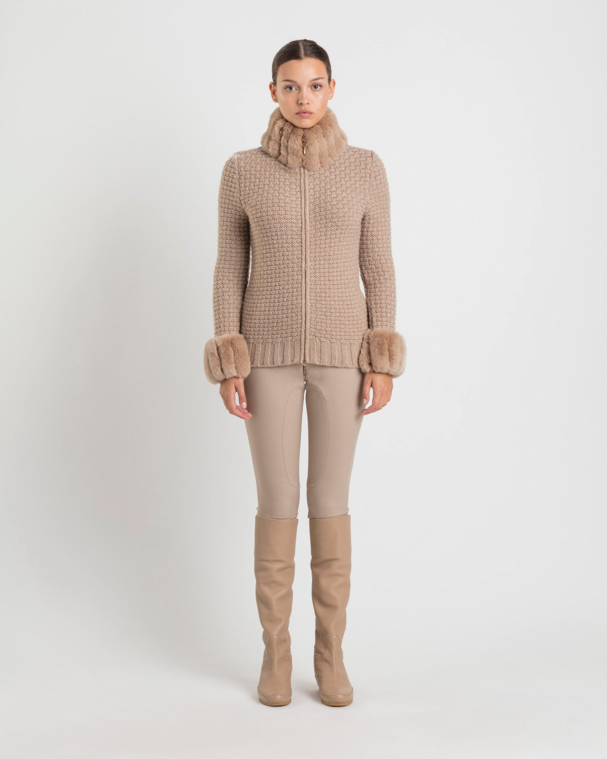 Luxo cashmere and chinchilla cardigan / Camel - Franck Namani